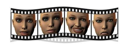Film mit den Mädchengesichtern in 3D getrennt auf Weiß Lizenzfreies Stockfoto