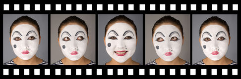 Film mit emotionalem Pantomimen Lizenzfreie Stockfotografie