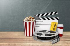 Film movie background. Cinema clapboard clapper clapperboard curtain director Stock Photos
