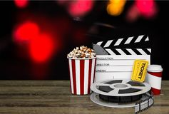 Film movie background. Cinema clapboard clapper clapperboard curtain director Stock Images