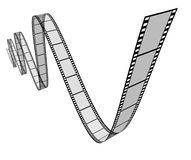 Film movie frames. In a dynamic 3d twisted shape on white background representing cinema and motion pictures directing as a digital film industry symbol with a Stock Image