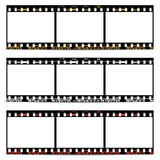 Film, movie, photo, filmstrip on white in black and white colors Royalty Free Stock Photo