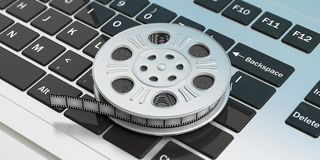 Film movie reel on a laptop background, isolated, 3d illustration. Cinematography concept. Film movie reel on a laptop background, isolated, 3d illustration royalty free illustration