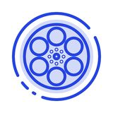 Film, Movie, Reel, Tank, Tape Blue Dotted Line Line Icon royalty free illustration