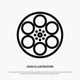 Film, Movie, Reel, Tank, Tape Line Icon Vector stock illustration