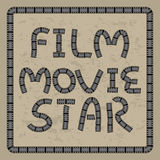 Film movie star. Illustration frame grungy film negative calligraphy film frame vintage retro color background Stock Photography