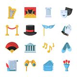 Film, movie and theatre symbols icon set. Vector theater entertainment, performance ballet and drama illustration Stock Photography