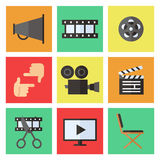 Film, movie and video flat multicolored icons vector set. Minimalistic design. Stock Photos