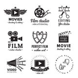 Film, movie and video logo vintage vector set. Hipster and retro style. Stock Photography