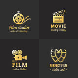Film, movie and video logo vintage vector set. Part one. Film, movie and video logo vintage vector set. Hipster and retro style. Part one Royalty Free Stock Photo