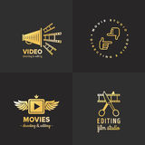 Film, movie and video logo vintage vector set. Part two. Stock Images