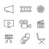 Film, movie and video outline icons vector set. Minimalistic design. Film, movie and video outline icons vector set. Modern minimalistic design Royalty Free Stock Image