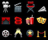 Film and movies industry icon collection Stock Photography