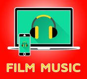 Film Music Means Movie Soundtrack 3d Illustration. Film Music Meaning Movie Soundtrack 3d Illustration Stock Images