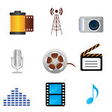 Film, music, photography media icons Stock Photos
