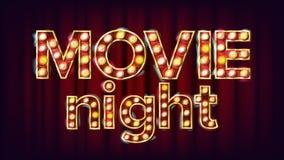 Film-Nachthintergrund-Vektor Theater-Kino-goldenes belichtetes Neonlicht Für Theater Kinematographie-Werbung stock abbildung