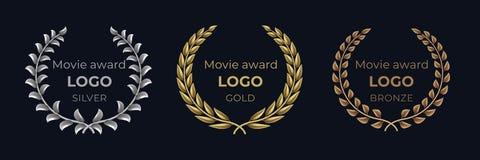 Film nagrody logo Laurowi złoci emblematy, zwycięzca nagrody ulistnienia sztandar, przedstawienia nagrodzony luksusowy pojęcie We royalty ilustracja