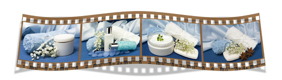 Film with natural for body care. Film with natural products for body care on colored background Royalty Free Stock Photography