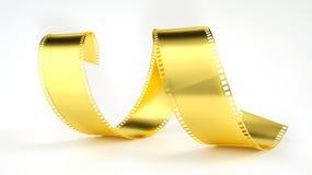 Film negative in gold - 3D rendering. Film negative in gold -- 3D rendering Stock Image
