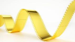 Film negative in gold - 3D rendering. Film negative in gold -- 3D rendering Stock Images