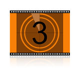 Film No 3 Three. Film Countdown at No 3 Three Stock Photo