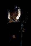 Film noir girl backlight Stock Photos
