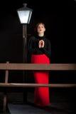Film noir girl street lantern bench Royalty Free Stock Images