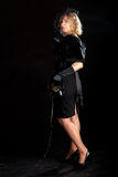 Film noir girl telephone Stock Photography
