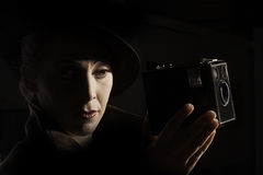 Film Noir style portrait Royalty Free Stock Image