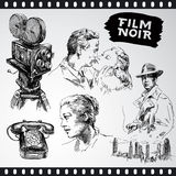 Film noir - vintage collection. Movie camera, film noir - hand drawn vintage collection Stock Photography