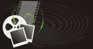 Film objects on the black background. Illustration Stock Photo