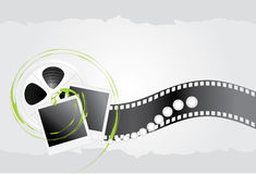 Film objects and shining strasses. On the silver background. Illustration Royalty Free Stock Image