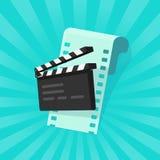 Film oder on-line-Kinokonzeptvektorillustration, flache Karikatur des Scharnierventilbrettes und Filmstreifen, Idee der Videobear Lizenzfreie Stockbilder