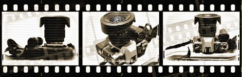 Film with old camera with textures Royalty Free Stock Images