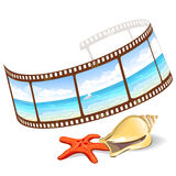 Film with panoramic sea and seashells. Vector illustration Stock Photos