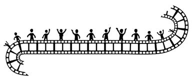 Film People Stencil. Film people stylized stencil black, vector illustration, horizontal, isolated Royalty Free Stock Image