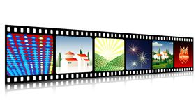 Film perspective. Vector celluloid film with images Stock Image