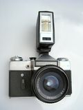 Film photo camera. Old film camera with flash Stock Image