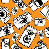 Film photo cameras  seamless pattern Stock Photos