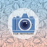 Film photography vector logo with hand drawn magnolia flowers. Trendy gradient background. Film photography vector logo with hand drawn magnolia flowers. Trendy Stock Photography