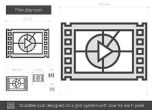 Film play line icon. Film play vector line icon isolated on white background. Film play line icon for infographic, website or app. Scalable icon designed on a Royalty Free Stock Photos