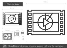 Film play line icon. Film play vector line icon isolated on white background. Film play line icon for infographic, website or app. Scalable icon designed on a Royalty Free Stock Images