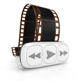 Film and player. On white background. 3d render Royalty Free Stock Image