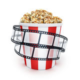 Film and popcorn. Box on white background. 3d illustration Royalty Free Stock Photography