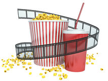 Film, popcorn and drink. 3d.  Royalty Free Stock Photography