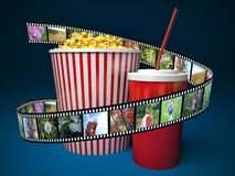 Film, popcorn and drink. 3d.  Royalty Free Stock Image