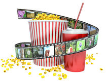 Film, popcorn and drink. 3d.  Royalty Free Stock Photo