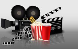 Film, popcorn and drink Royalty Free Stock Images