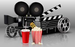 Film, popcorn and drink Stock Photography