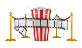 Film and popcorn. A film and popcorn on a background of pillars with a red rope. 3d rendering Stock Photos